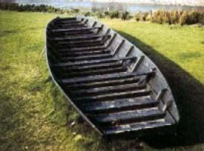 Wikingerüberfälle am Niederrhein. Karolingerzeitliches Schiff Nachbau Wikinger