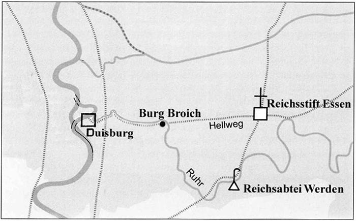 Burg Broich am Übergang des Hellwegs