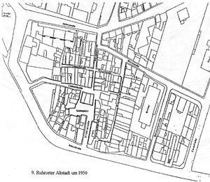 Ruhrort und Hafen. Altstadt um 1950
