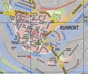 Ruhrort und Hafen. Moderner Straßenplan