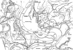 Ruhrort und Hafen. Karte mit Rheinverlauf