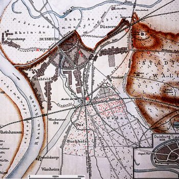 Karte von Duisburg um 1733