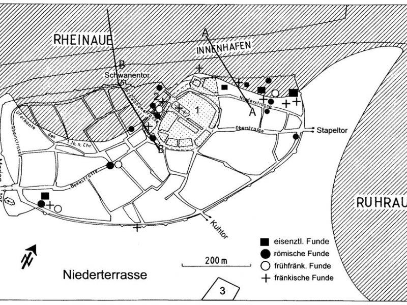 Duisburger Altstadt mit eisenzeitlichen, römischen und fränkischen Siedlungsresten von der 1. Hälfte des 5. (frühfränkisch) bis ins 8. Jahrhundert.